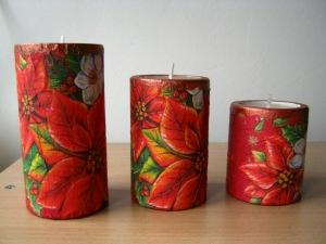 świeczniki decoupage